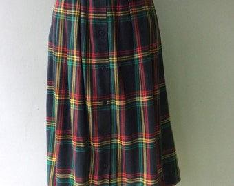 80s PLAID Pleated Skirt