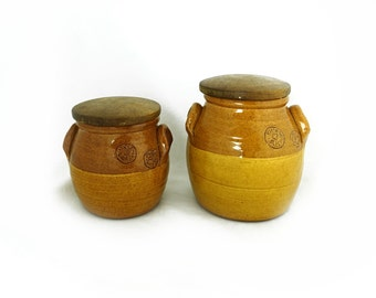Vintage pair John Kemety Australian studio pottery kitchen earthenware kitchen storage barrels, rustic kitchen storage