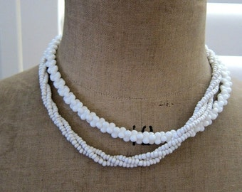 ON SALE Two Vintage retro 1960s milk glass torsade twisted strand and puzzle bead necklaces