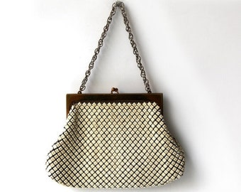ON SALE Vintage Whiting and Davis white metal mesh evening purse