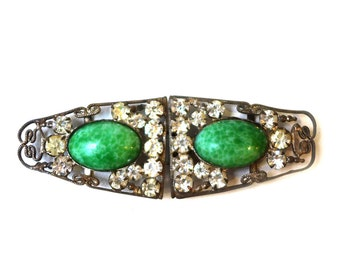 Vintage art deco filigree rhinestone green stone cabochon silver plate belt buckle