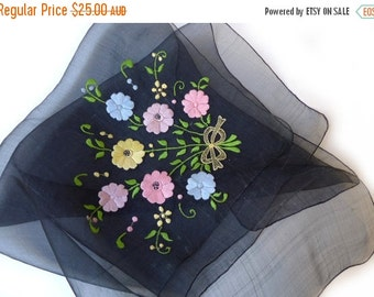 ON SALE Vintage translucent black silk organza scarf with hand embroidered flowers