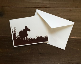 cow moose silhouette greeting card