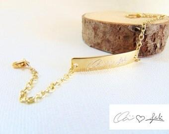 Actual handwriting Bracelet, Signature Bar bracelet, personalized handwritten bracelet, customized 16k gold hand writing engraved bracelet.