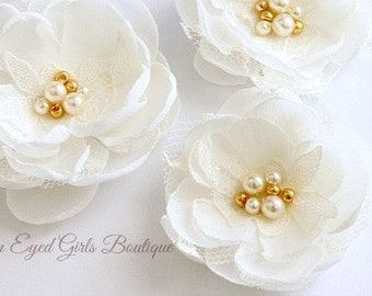 Ivory Chiffon and Lace Bridal Flower Hair Clip Trio with Rose Gold Accents