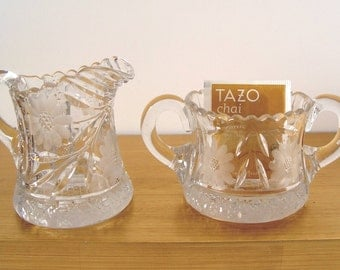 Vintage Heavy Cut Glass & Etched Creamer and Open Sugar Bowl SET Hold Sugar Packets or Teabags