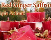 Red Ginger Saffron Triple Action Speed the Spell Soy Tea Lights - 9  for Spellcasting, Magick, Meditation and Ritual