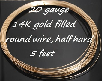 20 gauge 14K gold filled half hard round wire, 5 feet