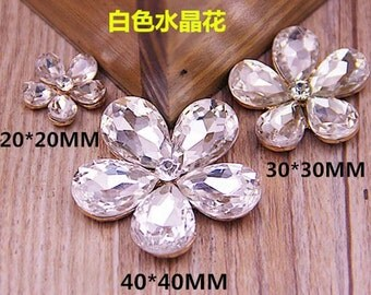 2pc cute faceted crystal flower alloy cabochon flatback 20mm/30mm40mm white s02