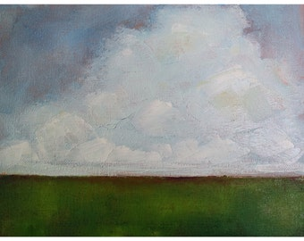 Cloud painting - landscape - field in country - original oil - small landscape - modern art abstract - impressionist - wall art canvas