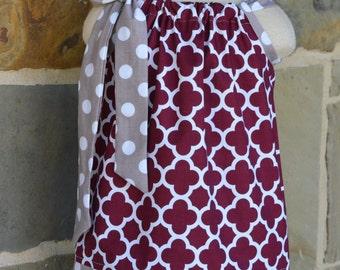 Maroon Quatrefoil and Gray Polka Dot Pillowcase dress