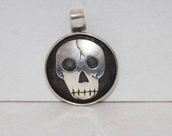 Day of the Dead Skull Pendant - Sterling Silver