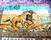 Vintage HORSE TAPESTRY RUG