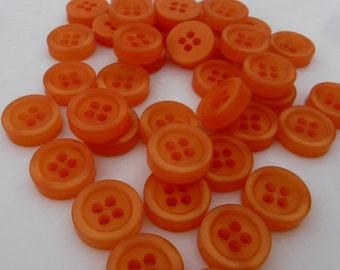 """25 Tangerine Orange Fat Round Buttons Size 1/2"""""""