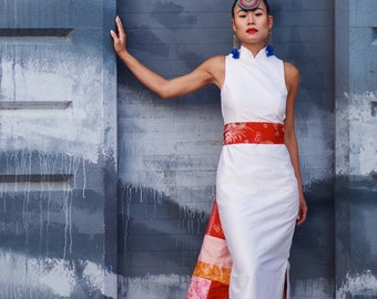 White Shantung Modern Cheongsam Dress