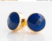 WINTER SALE - Blue Lapis Stud Earrings - September Birthstone Studs - Lapis Lazuli - Gemstone Studs - Round Studs - Gold Stud Earrings - Pos