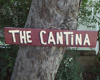 THE CANTINA - Country Primitive Rustic Wood Handmade Pool Hot Tub Sign Plaque