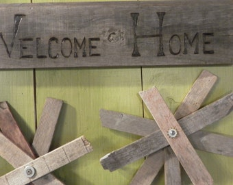 Welcome Home sign, garden, wall decor made to order, outdoor or indoor house plaque pyrography on scrap wood