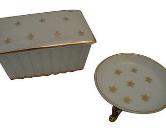 Vintage French Fleur-de-Lis Dresser Set