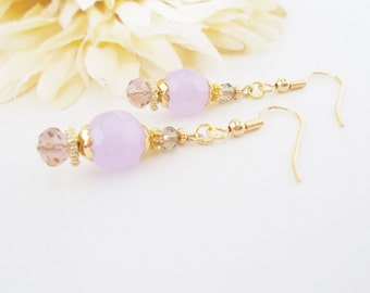 Lavender Beaded Dangle Earrings, Bridesmaids Gift for Her, Clip On Spring Wedding Jewelry, Boho Bridal Earrings, Lilac Victorian Earrings