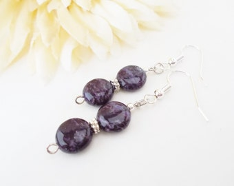 Purple Stone Earrings, Gemstone Earrings, Beaded Earrings, Bridesmaid Gift, Gift for Her, Wedding Earrings, Dark Purple Earrings, Clip On