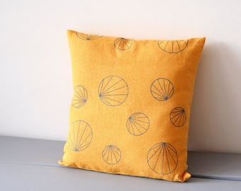 Yellow geometric cushion cover