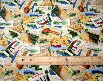 Home Away From Home Camp Postcards Toss premium cotton fabric from Wilmington Prints