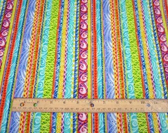Jewels Of The Sea Whimsical Multicolor Stripe premium cotton fabric from Quilting Treasures - fish