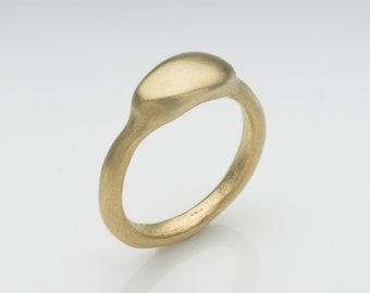 Gold pebble ring - 9 ct 14 ct and 18 ct gold ring with matte finish - Anniversary gift or Birthday present - Free shipping