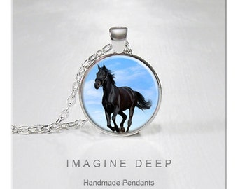 BUY 2 GET 1 FREE Black Horse Pendant Necklace Sky Blue High Quality Handmade Silver Copper Pendant - Black Horse Blue Sky (012)