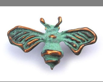 Spring Sale 10% Bee Brooch with blue green copper patina