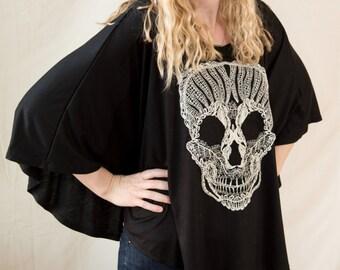Breastfeeding Poncho - Lace Skull - Handmade - Black