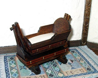 Swinging Cradle, Tudor Dollhouse Miniature 1/12 Scale, Hand Made