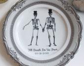Customizable Skeleton Gay Wedding Couple Groom & Groom on Silver Dinnerware / Dishes / Plates, Same Sex Skull Tableware, Top Hat Wedding