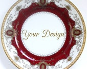 ANY DESIGN Red & Gold  Customized Vintage Dessert Plate, Meito Diplomat, Personalized China, Monogram Wedding Plate, Bespoke Tableware