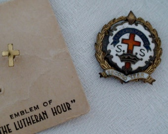 Set of 2 Service Pins, Church Pins. Assembly of God Sunday School, Lutheran Cross. Circa 1950s.