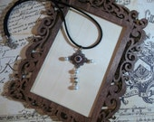 silver metal pendant brown eyeball necklace ususual necklace victorian style necklace macabre necklace real looking eyeball necklace oddity