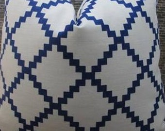 Lulu DK Chant Indigo - Designer Pillow Cover - 20 x 20