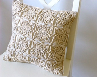 Sand crochet cushion cover, organic cotton cushion cover, lace cushion cover, FREE UK shipping, lace crochet, removable cover, neutral cover