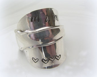 mum BEAUTIFUL sterling silver SPOON RING handmade adjustable gift
