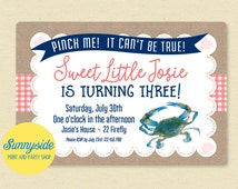 Girls Crab Birthday Invitation, Printable, Maryland, Blue Crab, Pink, Printable Invite, Crab Feast, Beach