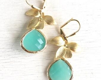 Aqua Mint and Gold Orchid Dangle Drop Earrings.  Aqua Dangle Bridesmaid Earrings. Jewelry Gift Ideas. Wedding Party Gift.