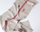 antique homespun table runner, grain sack fabric