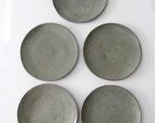 vintage dinner plates, green ceramic dishes set of 5
