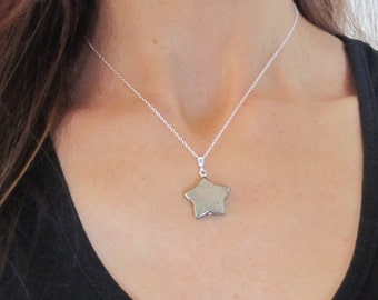 Lucky Gold Pyrite gemstone STAR pendant sterling silver necklace, lucky healing stone jewelry