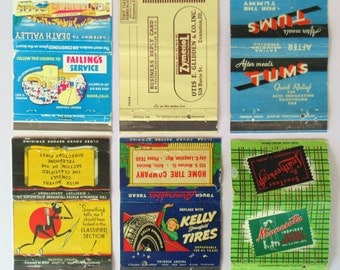 6 LARGE Matchbooks LeatherKraft Kelly Springfield Tires @ Home Tire Company Tums Failing's Calif Service Mountain State Telephone Zymenol