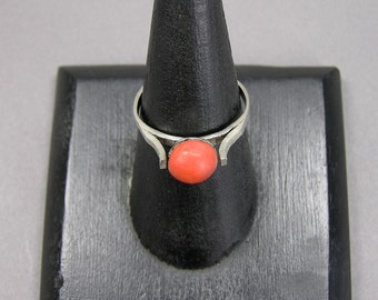 Antique Coral Ring, 800 Silver, Italian, Mediterranean Coral, Salmon Coral, Size 9