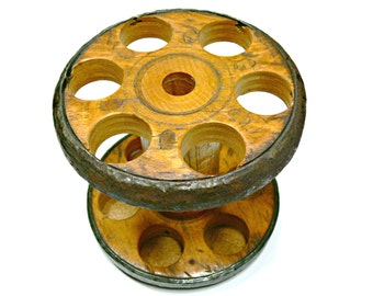 Antique Wooden Industrial Textile Spool - Large Vintage Thread Bobbin - Repurpose as Container for Utensils