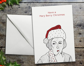 Funny Mary Berry Christmas Card | Great British Bake Off Christmas Card 'Have a Mary Berry Christmas'