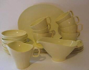 Melmac Yellow Dinnerware Boonton 26 Pieces Cups Saucers Gravy Boat Platter Bowls